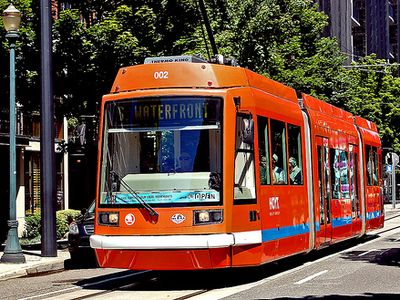 Catch the streetcar at one of two nearby stops.