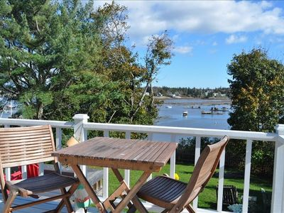 Deck Overlooking Harbor & Shore, Enjoy morning Coffee or Drinks on the Deck with