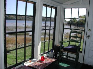 Machiasport cottage photo - The cozy enclosed porch with sweeping bay views