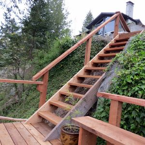 Beautiful new staircase to take you down to the path to the dock!