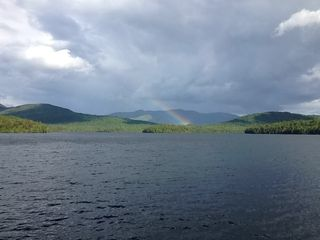 Lake Placid cabin photo - Rainbow across the lake