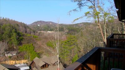 A view outside the Master bedroom balcony.  Dollywood is in the background.