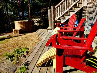 Brant Lake farmhouse photo - Sunning Deck at Water's Edge