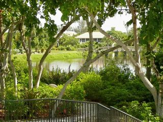 Sanibel Island house photo - The lush tropical back yard overlooks the Sanibel River and the golf course
