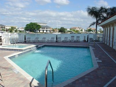 Heated pool and jacuzzi overlooking intracoastal
