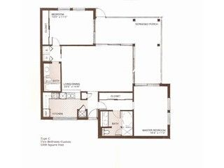 Floor plan of condo. Huge lanai - each bedroom walks out to it.