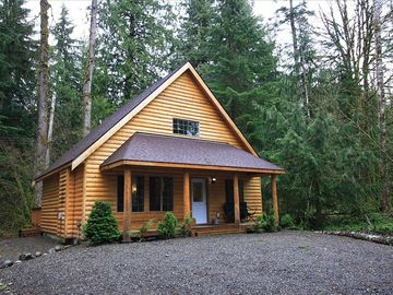 Mount Baker cabin rental - Cabin tucked privately on the lot. Backs up to the Mt. Baker National Forest.
