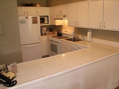 Enjoy our fully equipped kitchen, upgraded with new GE appliances.