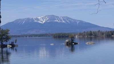 Expansive Katahdin View Cabin on Ambajejus Lake with Private Cove and Sand Beach