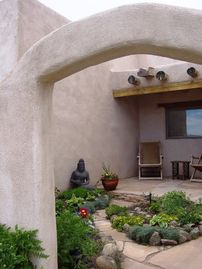 Taos house rental - Entrance into Front Courtyard