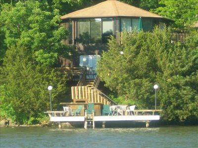 Three levels of decks/martini deck in water middle deck and upper deck with BBQ