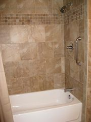 Blowing Rock cottage photo - Master Bathroom Shower is tub / shower. Newly tiled / large bath area.
