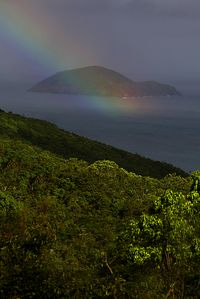 Ocean view of Outer Brass island from your deck. This is a real rainbow!