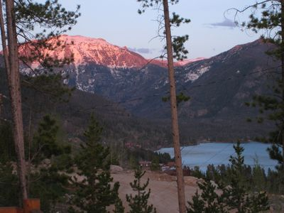 Watch the sunset on Mt Baldy with beautiful Grand Lake in the foreground