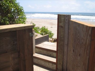Gate for easy access to beach. Enjoy your morning coffee from the bench.