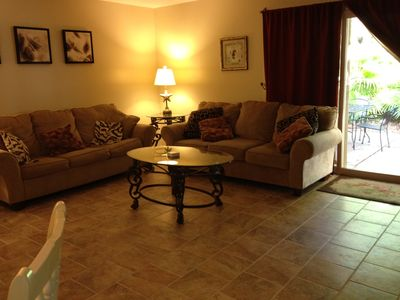 Gorgeous and comfortable living room with brand new tile floor