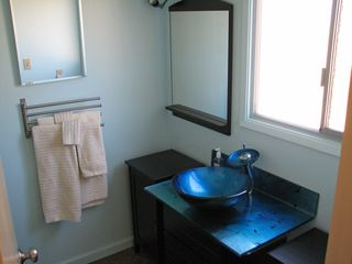 San Jose apartment photo - Newly remodelled bath includes blue Italian glass sink