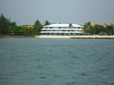 Grand Cayman condo rental - View from the ocean. Unit is on upper left.