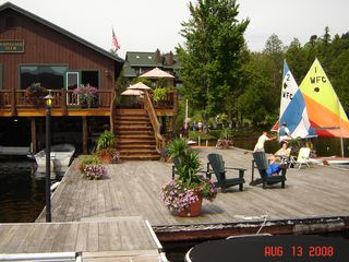 Lake Placid condo photo - Dock with boat rentals- Moose Lodge Restaurant