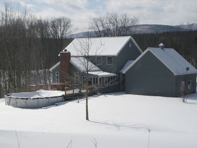 Catskill house rental - View of house from top of our hill - 8 very private acres
