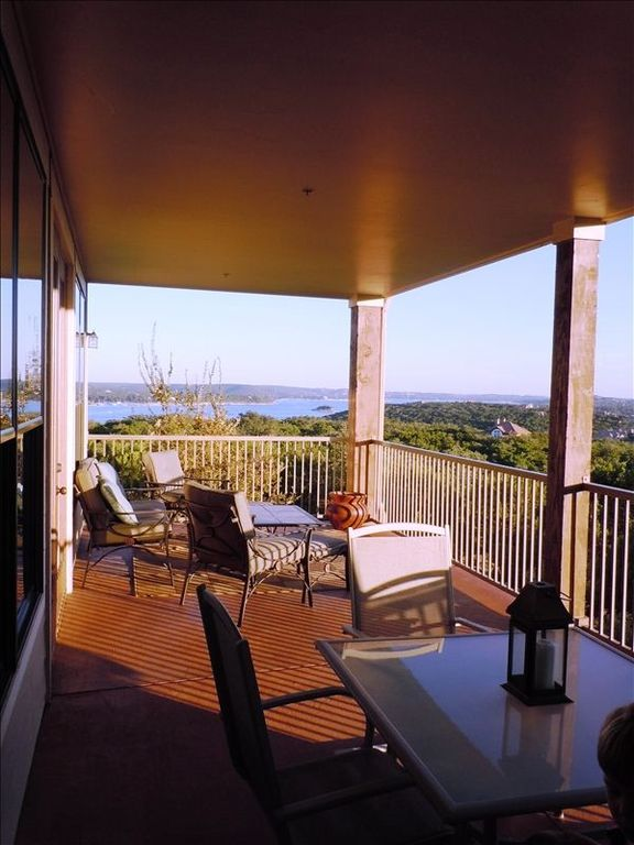 Large balcony overlooking Lake Travis