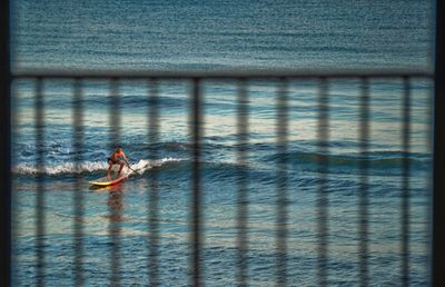 Paddleboarder as seen through our lanai railing.