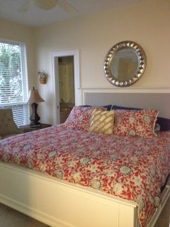 New Pottery Barn King in Master upstairs. Half bath and private balcony too!