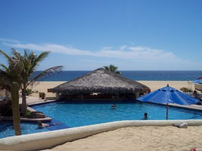 view of palapa w/bar and restaurant