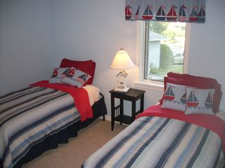 Biddeford house photo - BR #4: New twins with trundle - sleeps 3. Large closet; Pack-n-Play crib, too