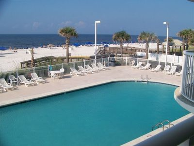 Great view of ocean and pool from our balcony.