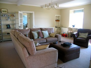 Isle of Bute & Cowal Peninsula cottage rental - Living room - spacious with a wood burner and view