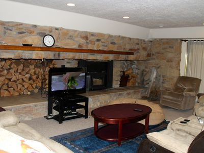 Living room area (small family option) in main A frame with fireplace, cableTV
