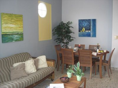 Large living and dining area.
