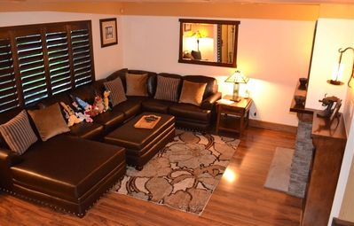 Large living room with comfy couch. Pulls out to a bed too!