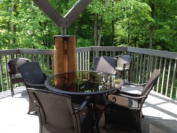 Large outdoor dining table with seating for eight.