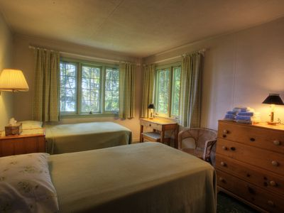 Traverse City cabin rental - Twin beds in bunkhouse.
