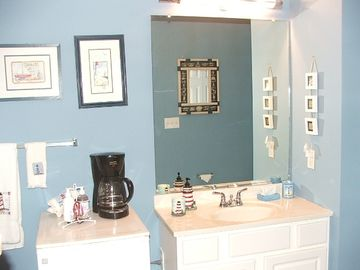 Master Bath with mini refrig & coffee maker