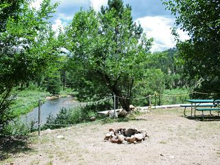 Woodland Park cabin photo - Fire pit and view of Platte river to the south