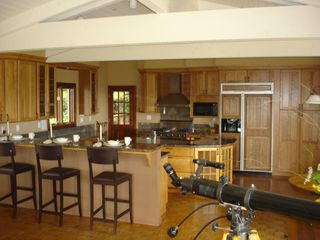Tiburon house photo - Kitchen with breakfast nook, 3 chair bar counter. Telescope for ship watching.