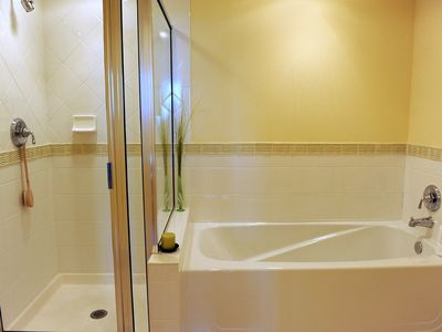 The master bath is just steps away.
