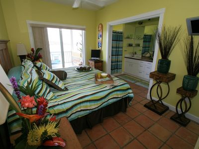 Ocean Waves Master Bedroom 1 downstairs. Full Ensuite bathroom. Deck just off.