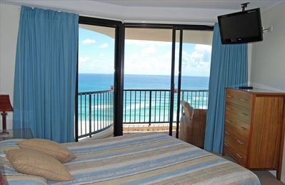Main bedroom with beach and ocean views
