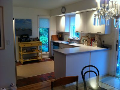 Renovated kitchen is fully equipped, includes coffee buffet w/ espresso machine.
