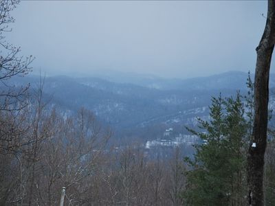 VIEW FROM THE DECK IN JANUARY, LIGHT SNOW CAPPED MOUNTAINS