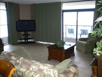 "Living area with a HUGE 50"" HD flat screen TV and wrap around views."