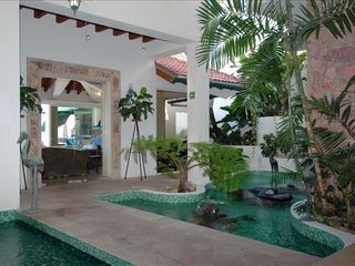 Puerto Vallarta villa photo - The atrium, indoor pool, and fountains for a yoga session