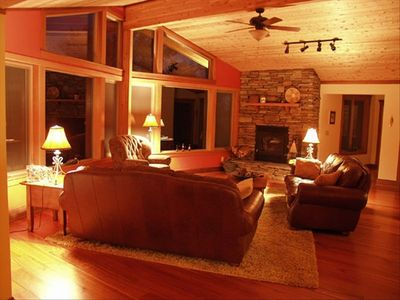 Soft leather couches and roaring fireplace!