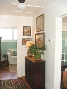 Galveston bungalow rental - Upstairs hallway- Bathroom to left, master to right, tv room straight ahead.