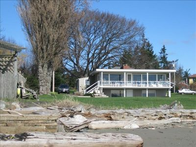Anacortes house rental - From the beach looking back at the house.
