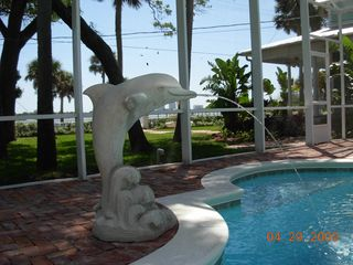 Daytona Beach house photo - Dolphin Fountain, Pool and Front yard.